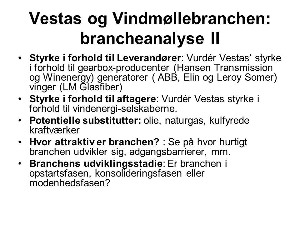Vestas og Vindmøllebranchen: brancheanalyse II