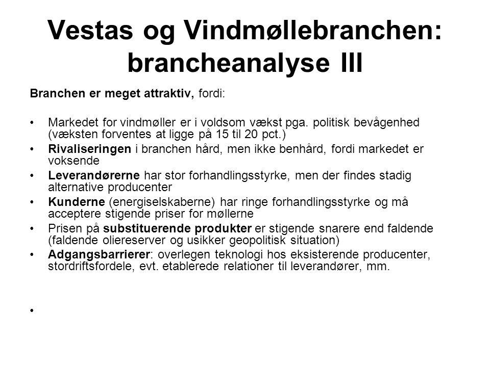 Vestas og Vindmøllebranchen: brancheanalyse III