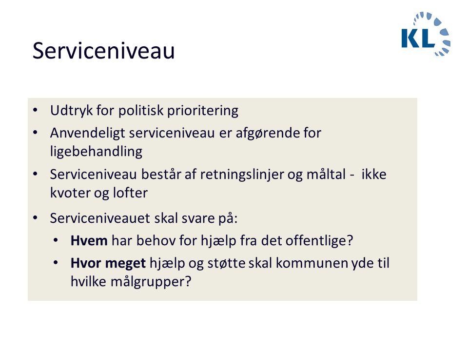 Serviceniveau Udtryk for politisk prioritering