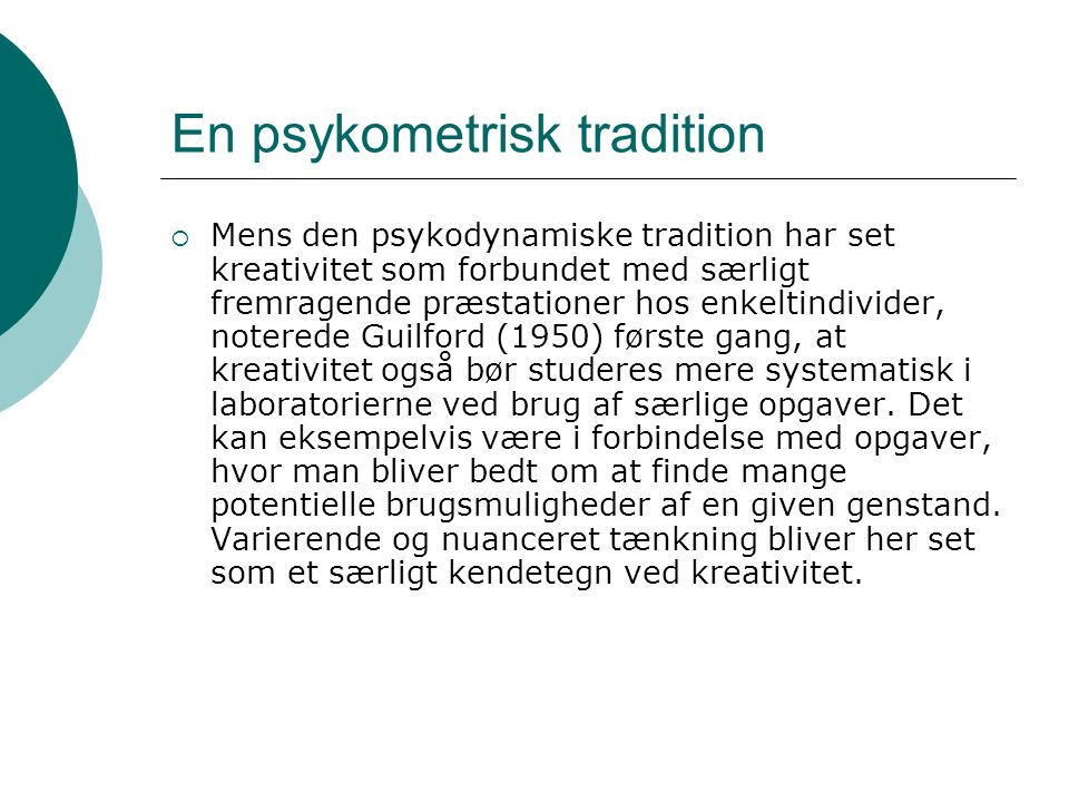 En psykometrisk tradition