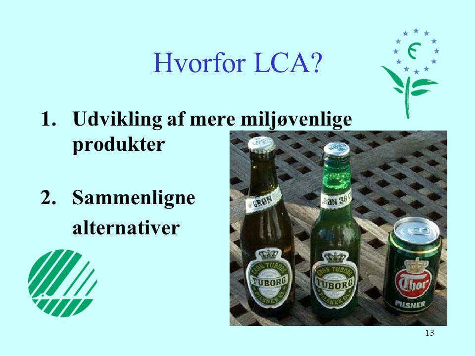 Hvorfor LCA Udvikling af mere miljøvenlige produkter Sammenligne