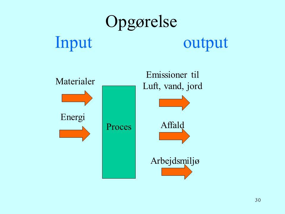 Opgørelse Input output