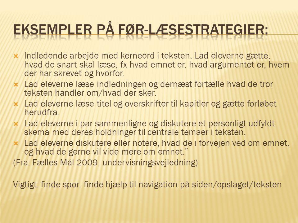 Eksempler på før-læsestrategier:
