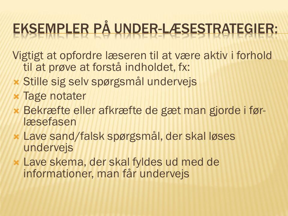 Eksempler på under-læsestrategier: