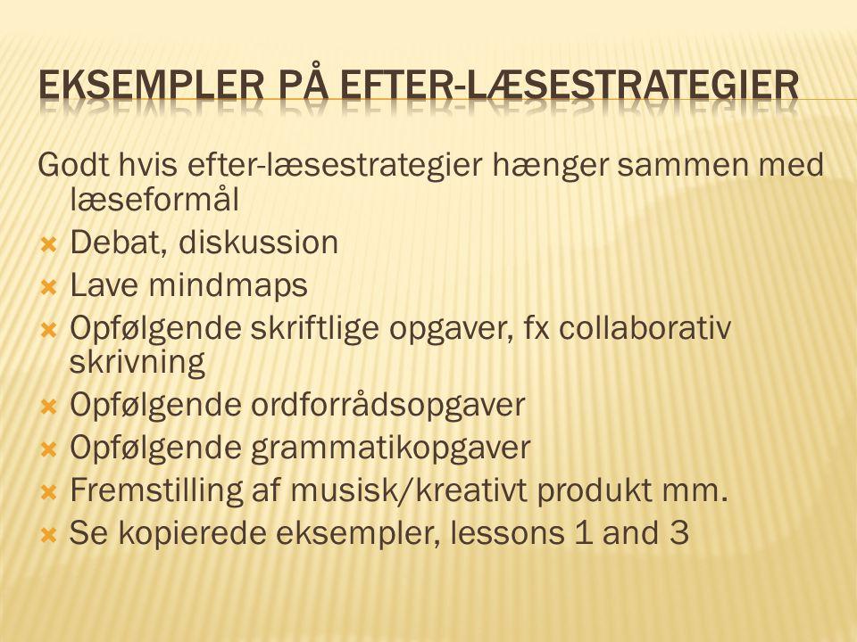 Eksempler på Efter-læsestrategier