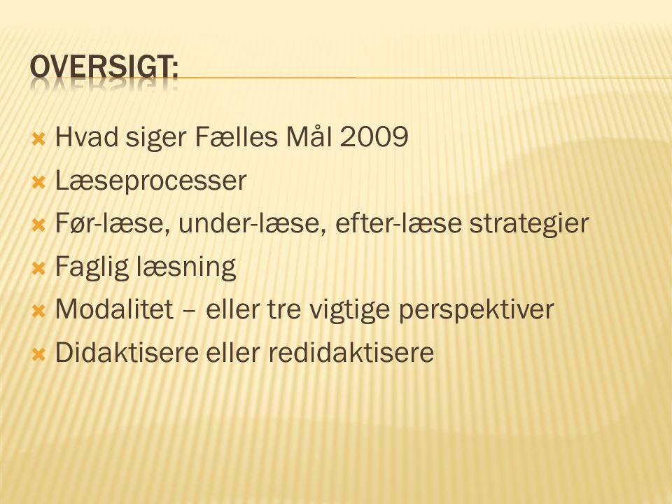 Oversigt: Hvad siger Fælles Mål 2009 Læseprocesser