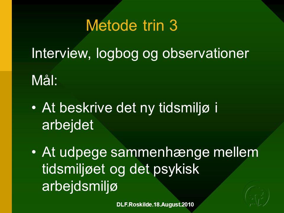 Metode trin 3 Interview, logbog og observationer Mål: