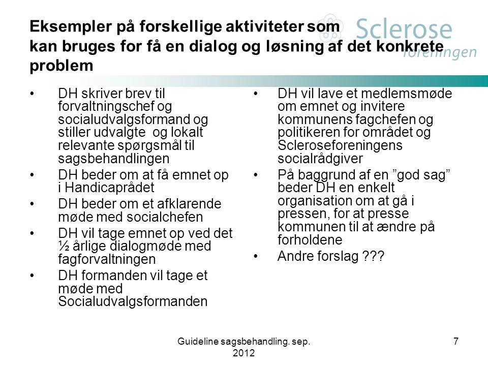 Guideline sagsbehandling. sep. 2012