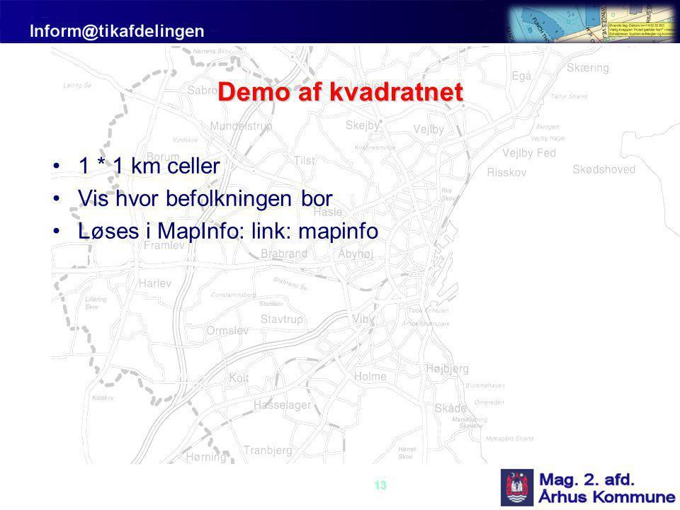 Demo af kvadratnet 1 * 1 km celler Vis hvor befolkningen bor