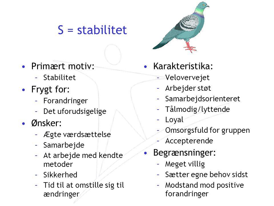 S = stabilitet Primært motiv: Frygt for: Ønsker: Karakteristika: