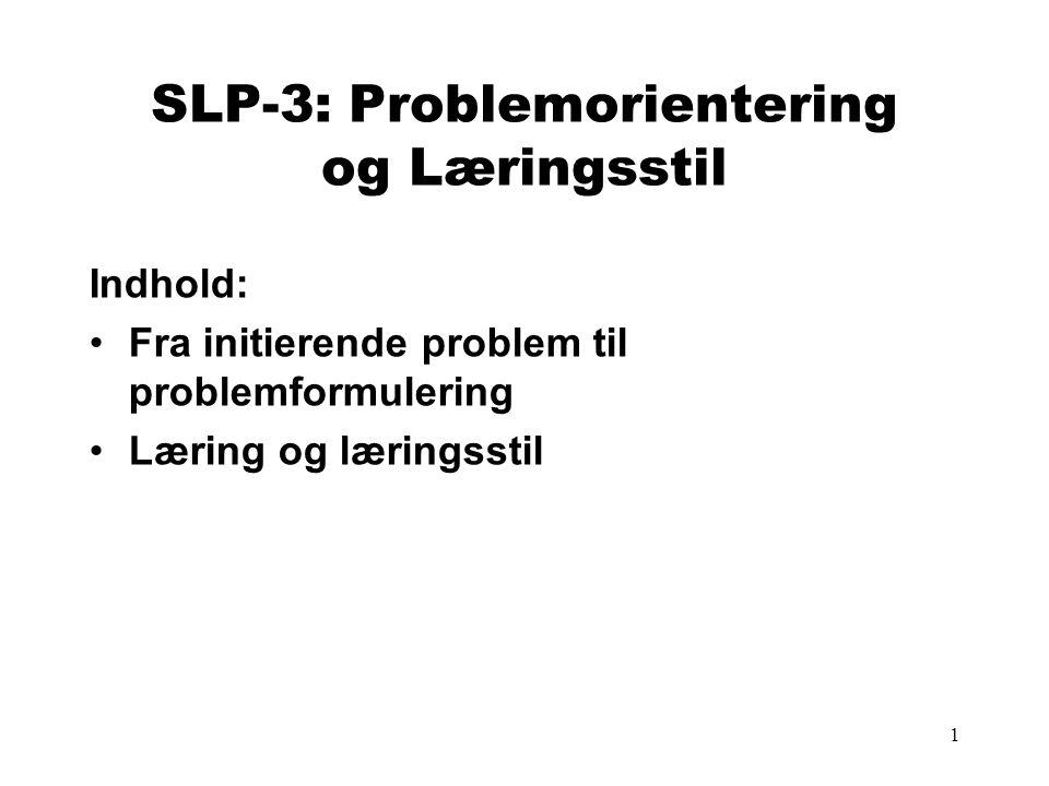 SLP-3: Problemorientering og Læringsstil