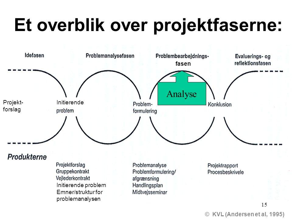 Et overblik over projektfaserne:
