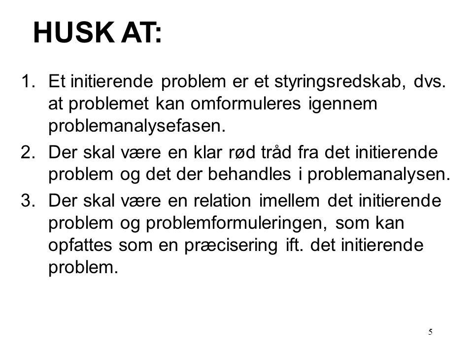 HUSK AT: Et initierende problem er et styringsredskab, dvs. at problemet kan omformuleres igennem problemanalysefasen.
