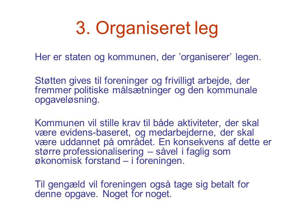 3. Organiseret leg Her er staten og kommunen, der 'organiserer' legen.