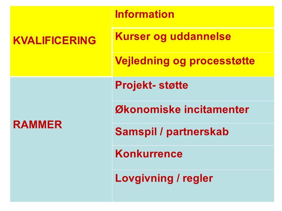 KVALIFICERING Information. Kurser og uddannelse. Vejledning og processtøtte. RAMMER. Projekt- støtte.