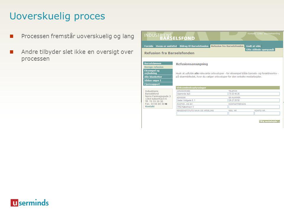 Uoverskuelig proces Processen fremstår uoverskuelig og lang