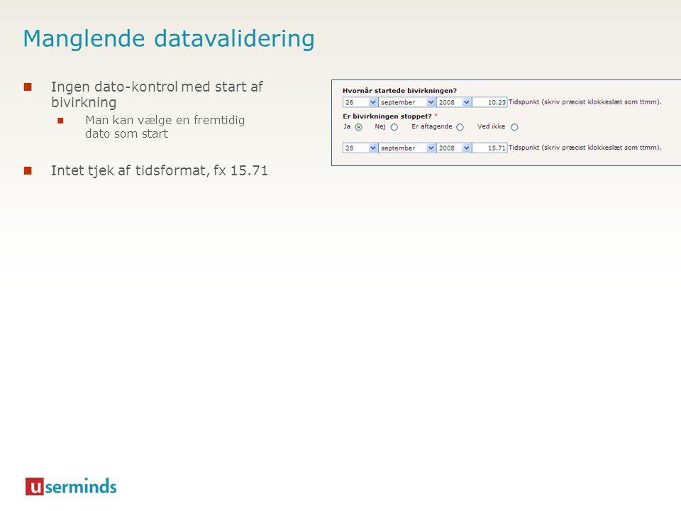 Manglende datavalidering