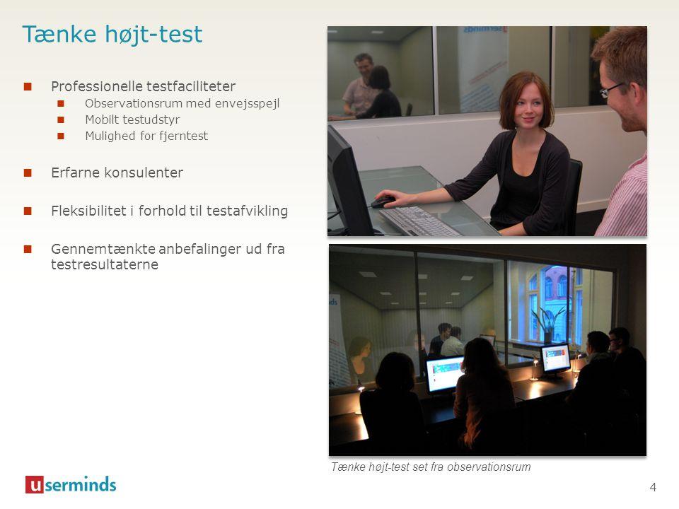 Tænke højt-test Professionelle testfaciliteter Erfarne konsulenter