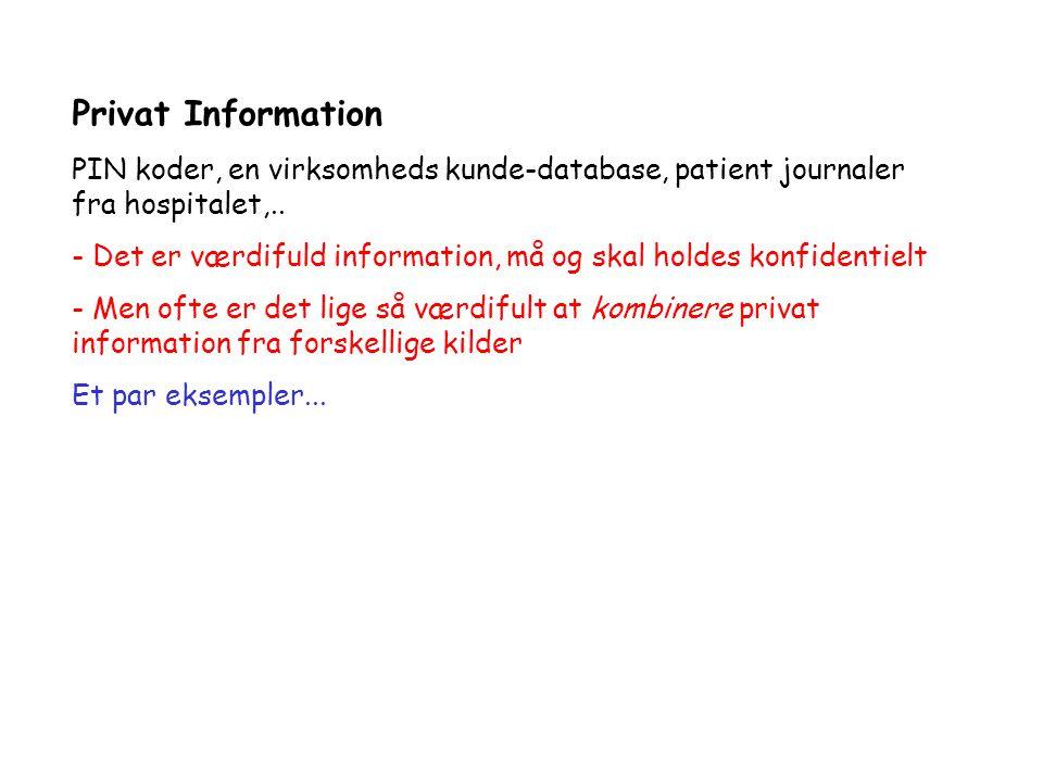 Privat Information PIN koder, en virksomheds kunde-database, patient journaler fra hospitalet,..