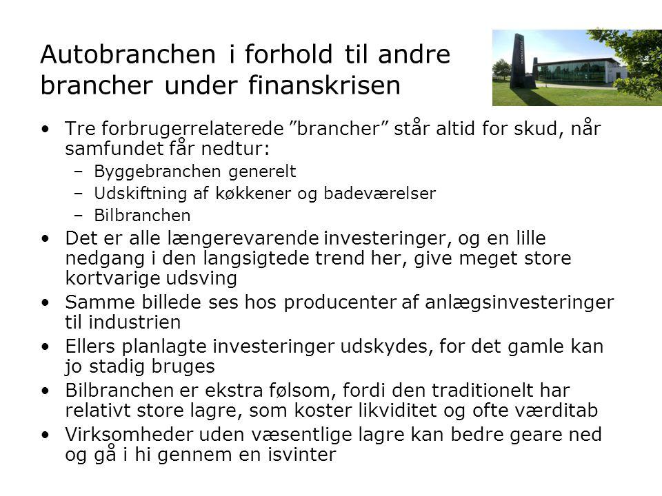 Autobranchen i forhold til andre brancher under finanskrisen