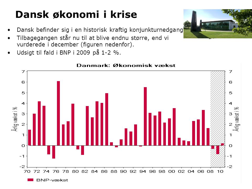 Dansk økonomi i krise Dansk befinder sig i en historisk kraftig konjunkturnedgang. Tilbagegangen står nu til at blive endnu større, end vi.