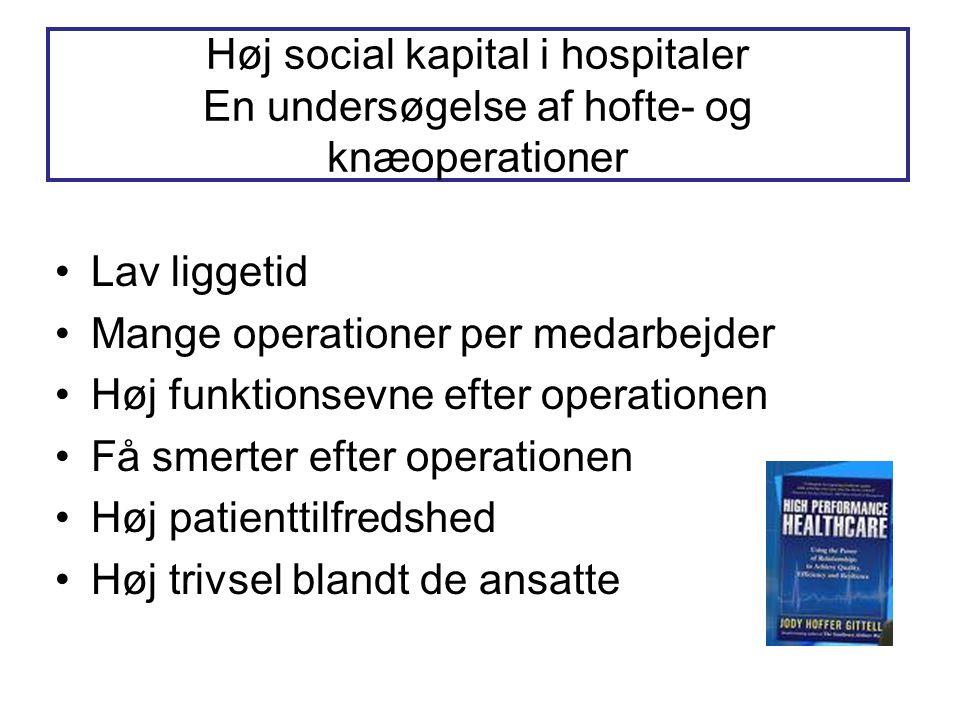 Høj social kapital i hospitaler En undersøgelse af hofte- og knæoperationer