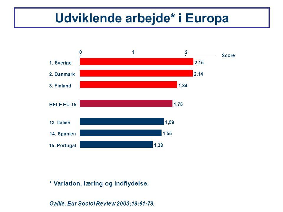 Udviklende arbejde* i Europa