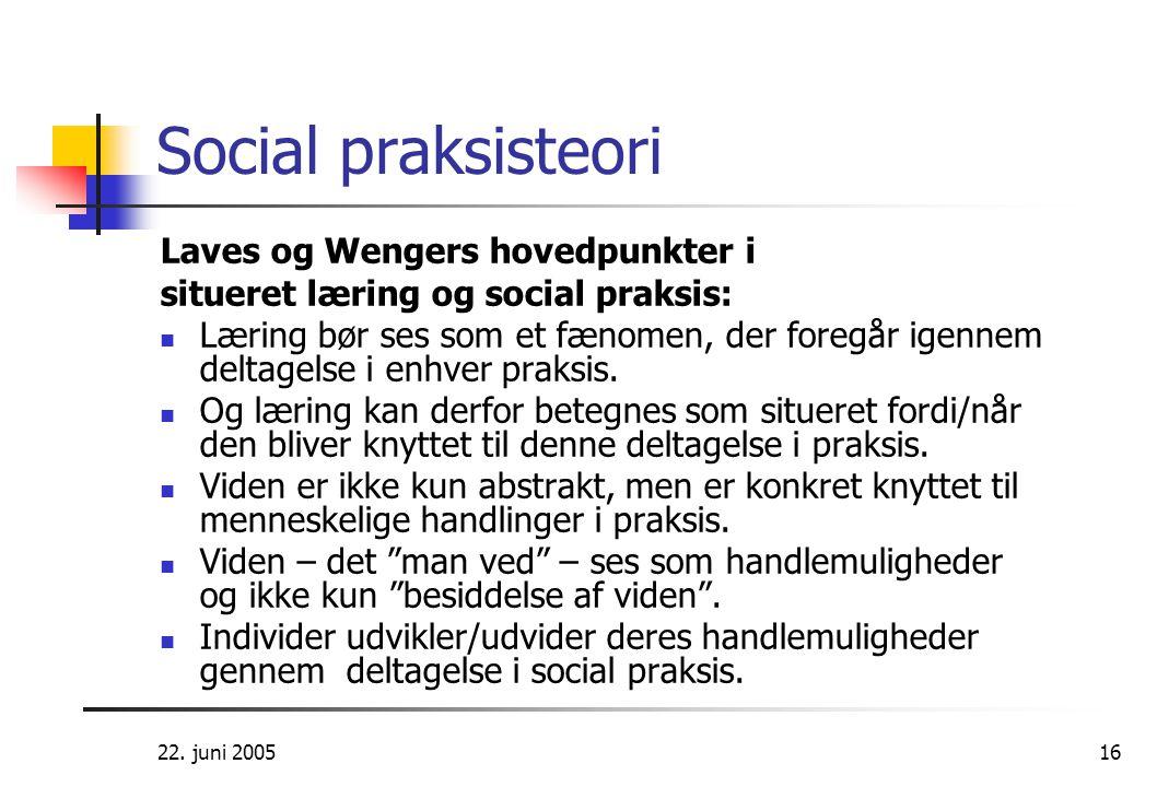 Social praksisteori Laves og Wengers hovedpunkter i