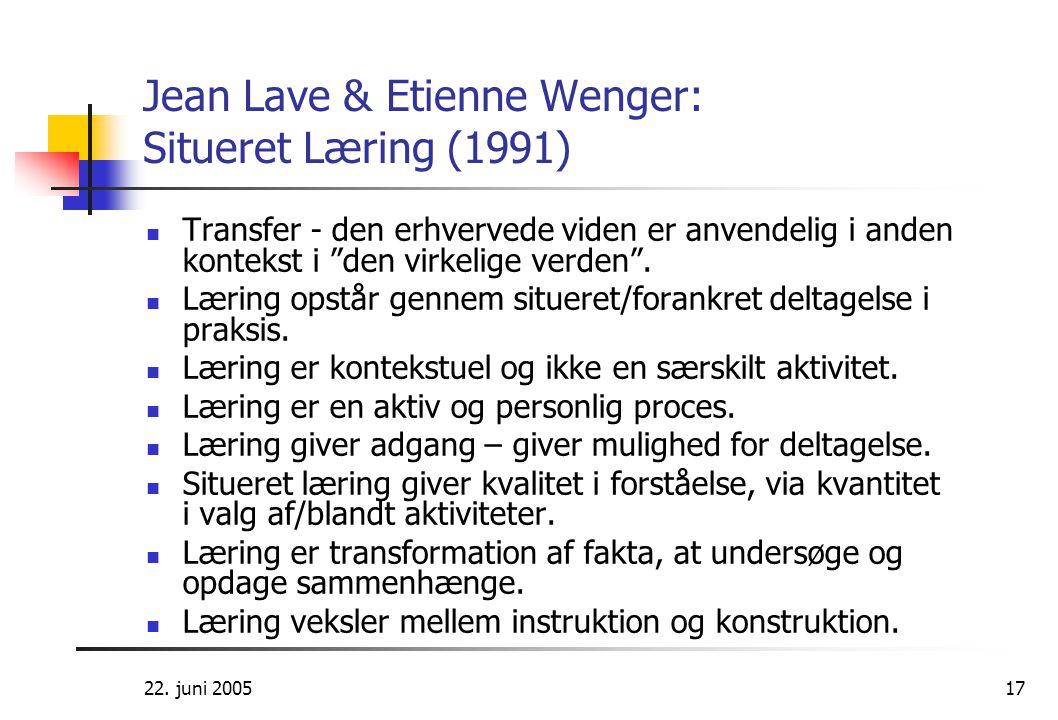 Jean Lave & Etienne Wenger: Situeret Læring (1991)