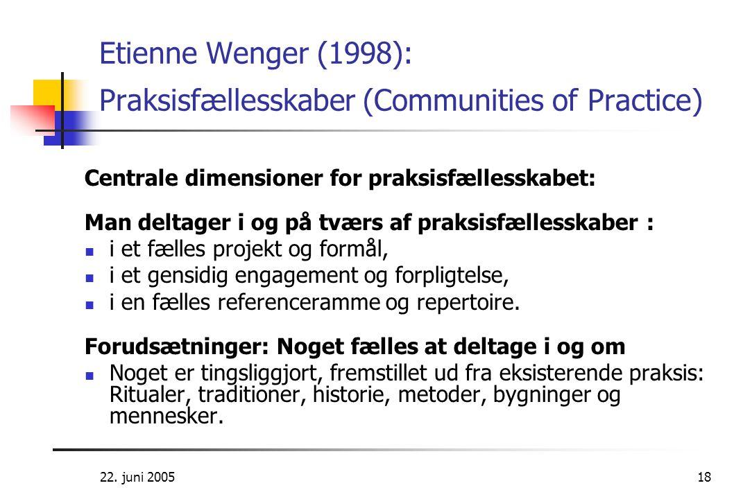 Etienne Wenger (1998): Praksisfællesskaber (Communities of Practice)