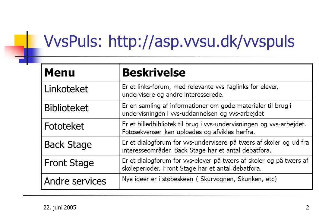 VvsPuls: http://asp.vvsu.dk/vvspuls