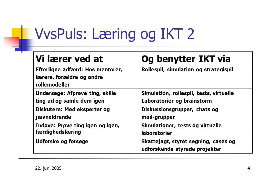 VvsPuls: Læring og IKT 2 Vi lærer ved at Og benytter IKT via