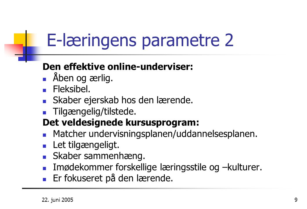 E-læringens parametre 2