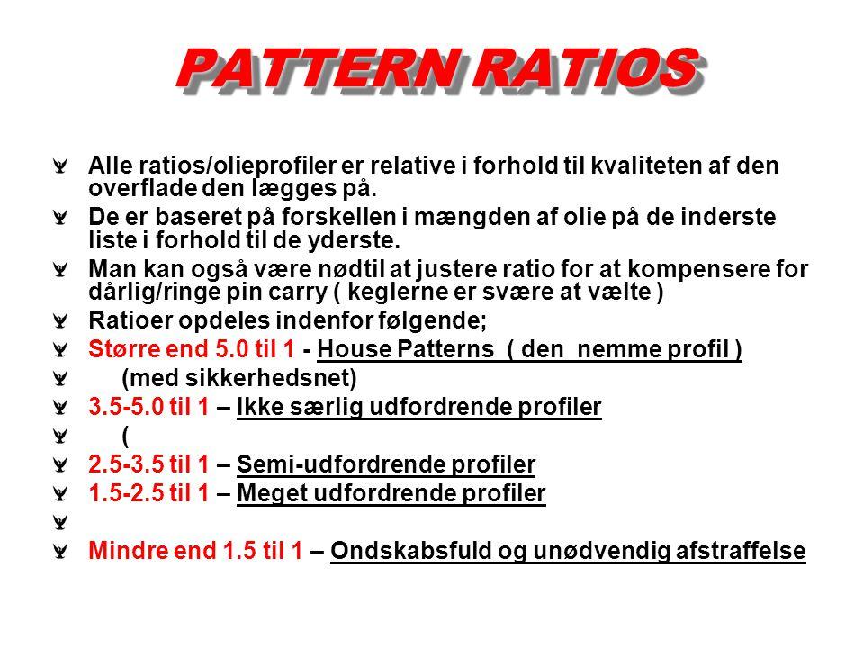 PATTERN RATIOS Alle ratios/olieprofiler er relative i forhold til kvaliteten af den overflade den lægges på.