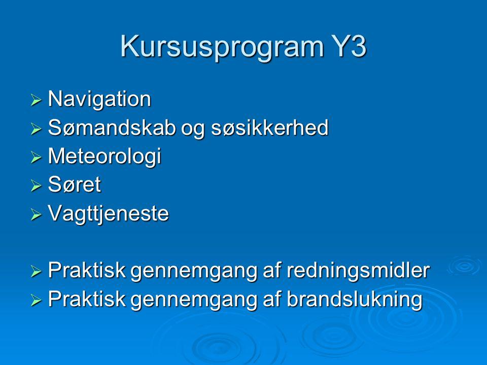 Kursusprogram Y3 Navigation Sømandskab og søsikkerhed Meteorologi