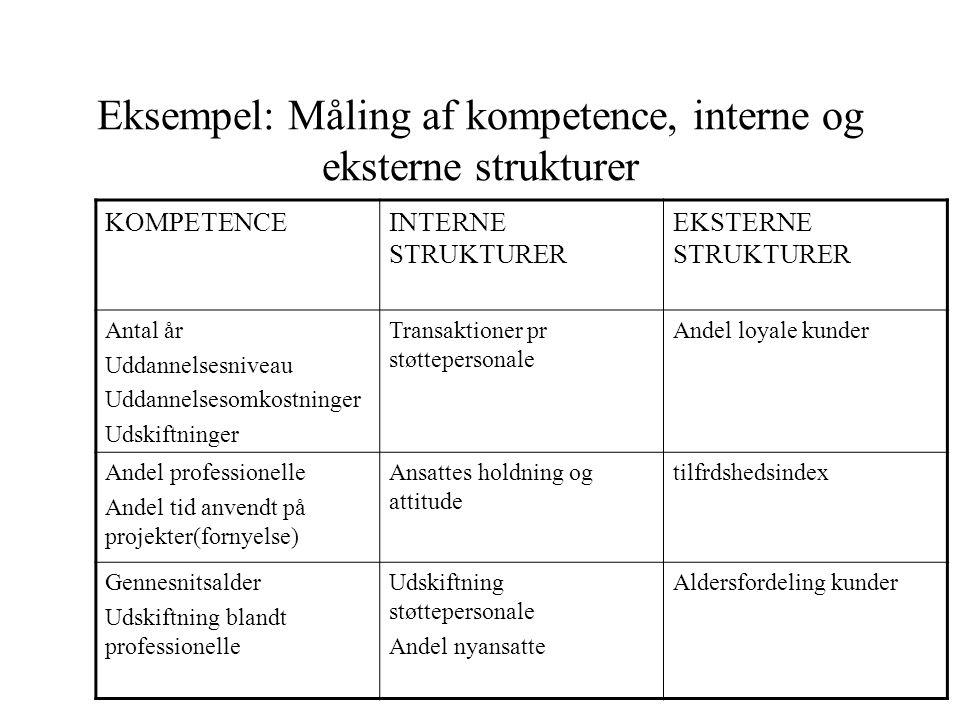 Eksempel: Måling af kompetence, interne og eksterne strukturer