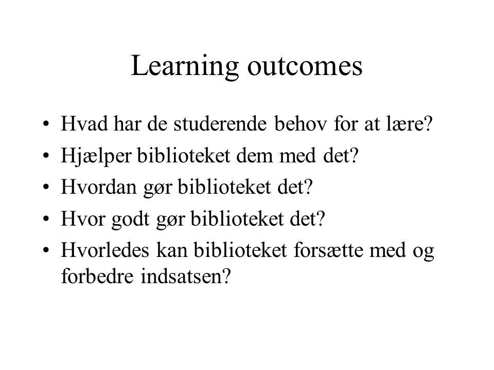 Learning outcomes Hvad har de studerende behov for at lære