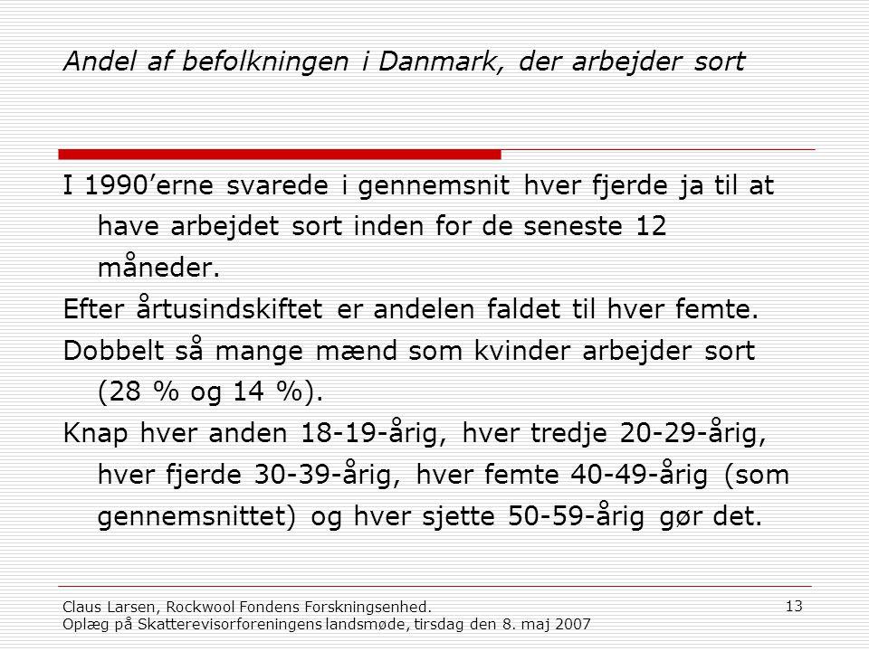 Andel af befolkningen i Danmark, der arbejder sort