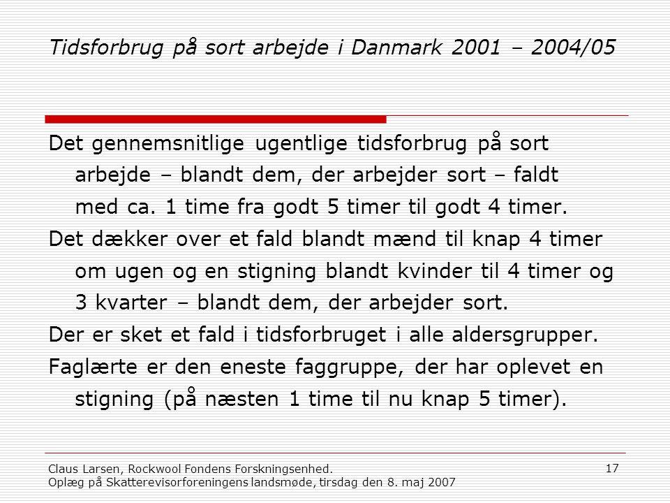 Tidsforbrug på sort arbejde i Danmark 2001 – 2004/05