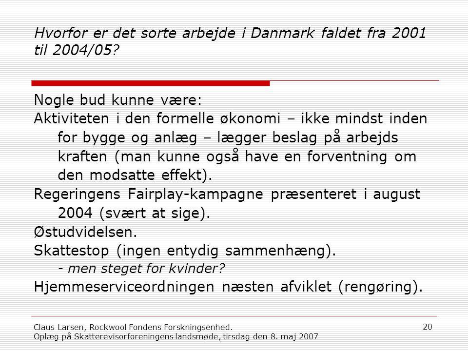 Hvorfor er det sorte arbejde i Danmark faldet fra 2001 til 2004/05