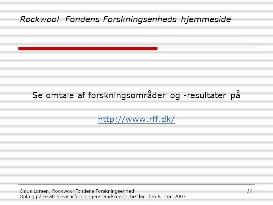 Rockwool Fondens Forskningsenheds hjemmeside