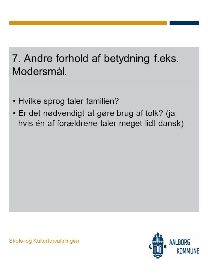 7. Andre forhold af betydning f.eks. Modersmål.