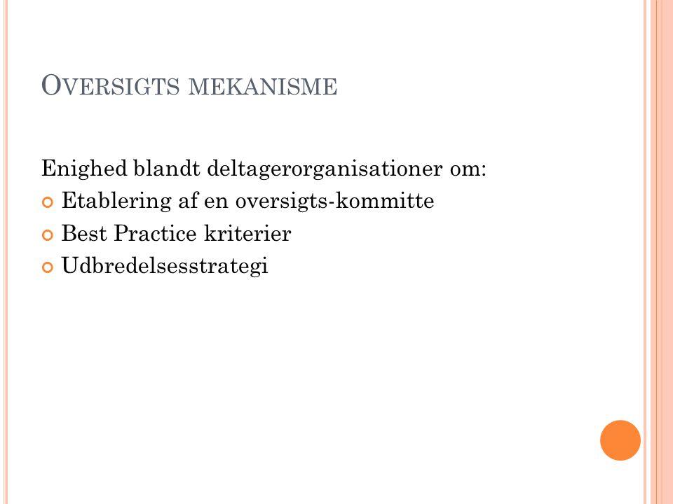 Oversigts mekanisme Enighed blandt deltagerorganisationer om: