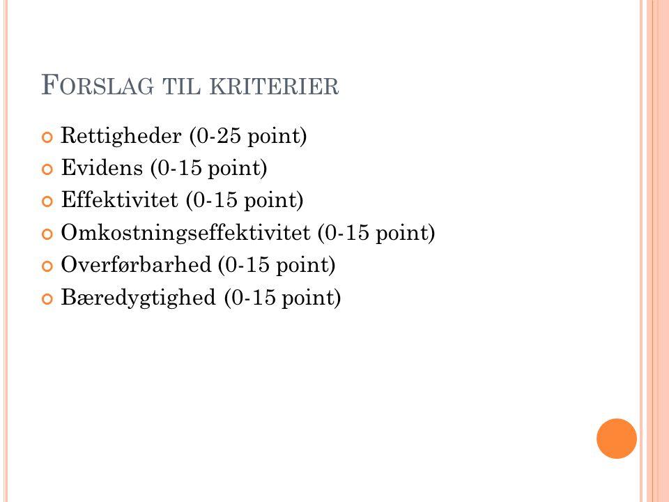 Forslag til kriterier Rettigheder (0-25 point) Evidens (0-15 point)