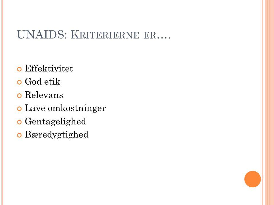 UNAIDS: Kriterierne er….