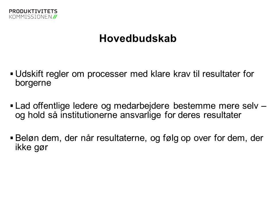 Hovedbudskab Udskift regler om processer med klare krav til resultater for borgerne.