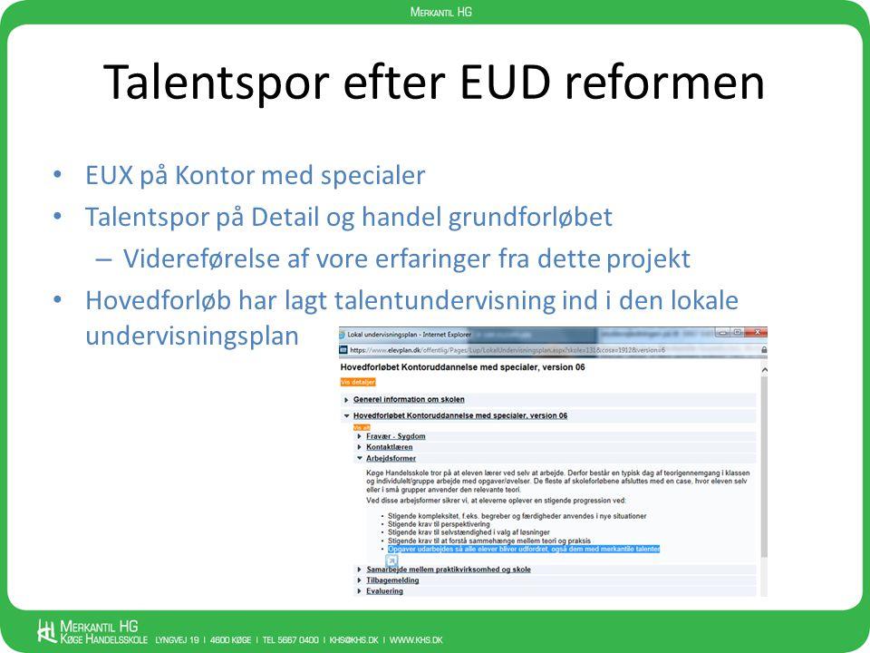 Talentspor efter EUD reformen