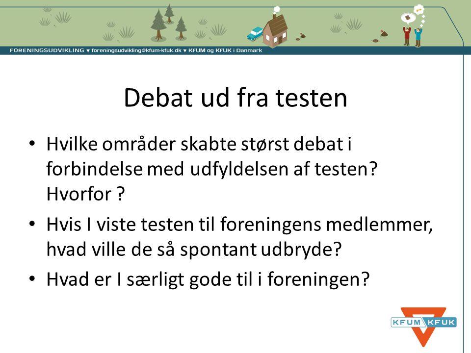 Debat ud fra testen Hvilke områder skabte størst debat i forbindelse med udfyldelsen af testen Hvorfor