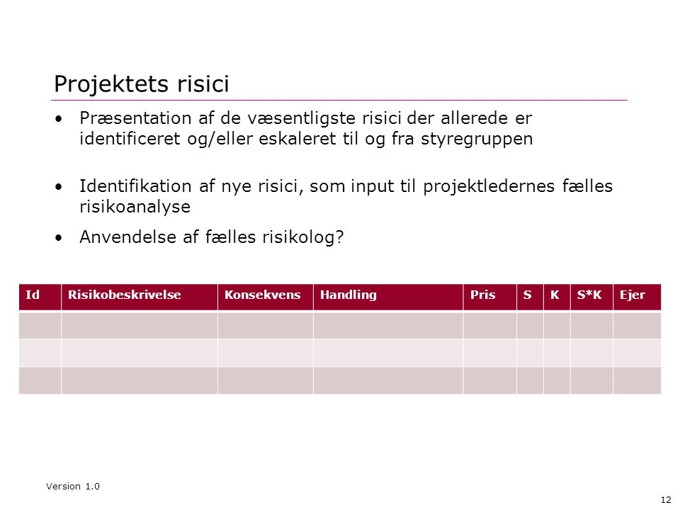 Projektets risici Præsentation af de væsentligste risici der allerede er identificeret og/eller eskaleret til og fra styregruppen.