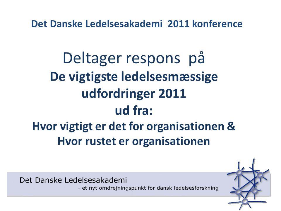 Deltager respons på De vigtigste ledelsesmæssige udfordringer 2011